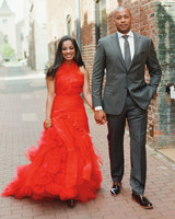 ruffled red wedding dress