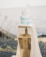 Watercolor Wedding Cake Topped with White Coral