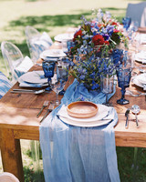 blue table settings