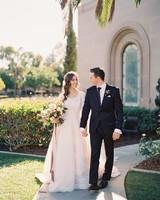 brooke dalton wedding couple walking outside venue