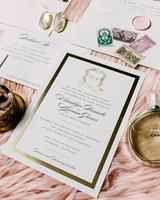 white and gold foil stationary suite