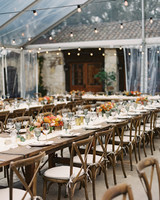 Rose Patio long wooden tables wedding reception