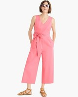 pink Wrap-Tie Jumpsuit in Stretch Poplin