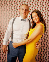colleen stephen newport wedding photo booth with floral wall paper