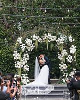 danielle kevin wedding couple ceremony kiss