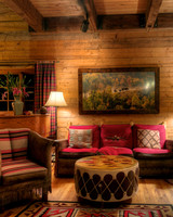 dude ranch honeymoon cabin living room sofa piano lamps