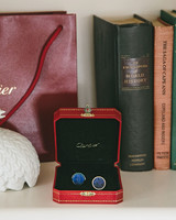grooms blue cuff links in cartier box
