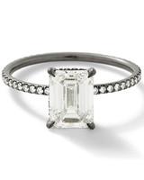 emerald cut ring blackened white gold band