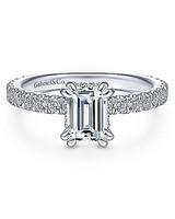 emerald cut ring white gold diamond set band