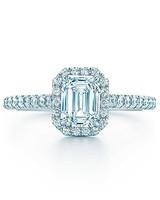 emerald cut ring halo diamond band