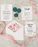 stationery with floral liner and crest