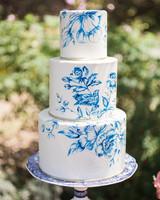 blue white painted wedding cake
