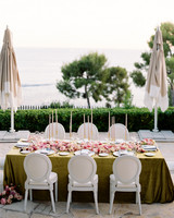 chartreuse table cloth covered reception table