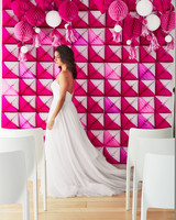 pink honeycomb DIY wedding backdrop