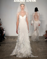 inbal dror wedding dress spaghetti-strap sheath with vertical ruffles