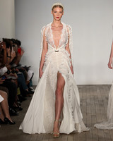 inbal dror wedding dress layered plunging v-neck with high slit