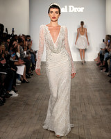 inbal dror wedding dress long-sleeved sheath with draped neck