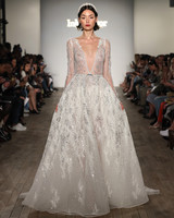 inbal dror wedding dress deep v-neck beaded ball gown