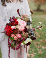 Red and Pink Fall Wedding Bouquet