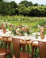 Farm Table with Peach, Yellow, and Green Centerpiece