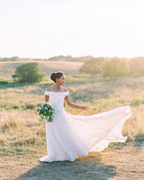 custom designed Guillermo Couture off-the-shoulder lace wedding dress