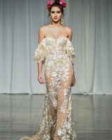 julie vino group fall 2019 sheer over the shoulder wedding dress