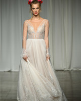 julie vino group fall 2019 sheer a-line glitter wedding dress