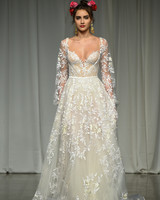 julie vino group fall 2019 sheer long sleeve a-line wedding dress