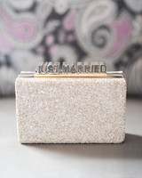 just married sparkly white purse clutch