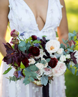 pale blush and deep eggplant colored floral bouquet