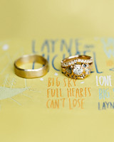 gold wedding rings displayed on custom patch