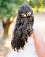 Gold leaf hair piece in brides hair