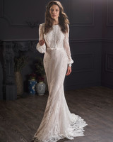 lace long sleeve boat neck train semi mermaid wedding dress Lihi Hod Spring 2020