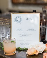 wedding reception menu frame with peach cocktail and roses