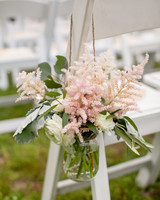 mason jar flower hanger off white chair