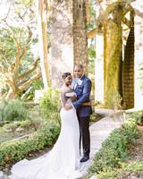 melissa leighton wedding couple on stone walkway