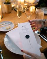 michael thomas wedding menu place setting tablescape
