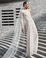 naeem khan wedding dress asymmetrical neckline one sleeve sheath