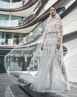 naeem khan wedding dress off the shoulder floral applique sheer a-line