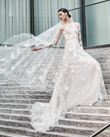 naeem khan wedding dress long sleeves floral applique sheer a-line