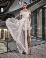 naeem khan wedding dress off the shoulder short with sheer long overlay skirt
