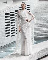 naeem khan wedding dress lace sheer sheath with cape