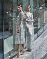 naeem khan wedding dresses striped silver metallic sheath long and tea length