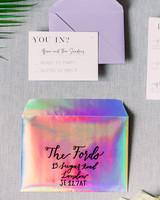 neon wedding multi-hued metallic invitations