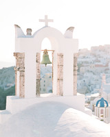 cross topped arch in Santorini Greece