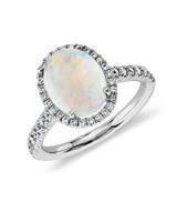 white gold diamond halo band opal engagement ring