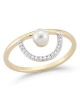 Mateo 14-Karat Gold Pearl and Diamond Arc Ring