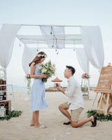 perfect proposals beach with lit up gazebo
