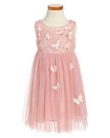 pink butterfly flower girl dress