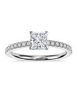 princess cut diamonds ring silver blue nile